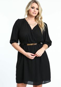 Plus Size Chiffon Wrap Dress, BLACK, large