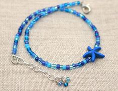 Simple anklet, beach jewelry, blue, gift for mom, Mothers day gift Tiffany Bead Bracelet, Seed Bead Bracelets, Seed Bead Jewelry, Ankle Bracelets, Seed Beads, Crystal Jewelry, Beaded Anklets, Beaded Choker Necklace, Anklet Jewelry
