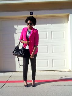 hot pink blazer and striped tee. http://www.asliceofglam.com/2012/09/pop-of-pink.html