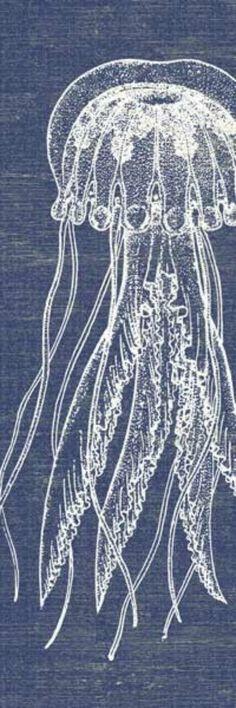Indigo Denim Blue and White Jellyfish Art Print -love!