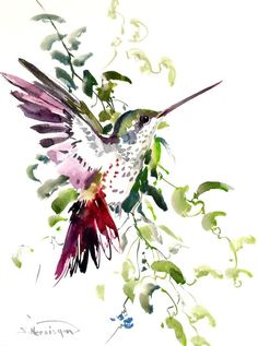 Hummingbird painting 12 X 9 in original watercolor by ORIGINALONLY