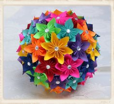 Origami kusudama flower bouquet with astrobrights paper kids paper flower bouquet origami bouquet kusudama by myarteasure mightylinksfo