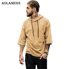 Aolamegs Men Hoodies Sweatshirts Solid Color Big Pocket Hoodie Tee Thin Hood Pullover Fashion Hip hop High Street Tops Clothing #Affiliate