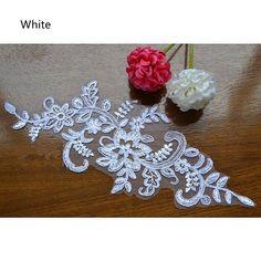 1 Pair Bridal Lace Applique DIY Trim Appliques in White for