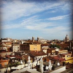 Rome downtown cityscape from the rooftop terrace of First Art Luxury hotel.