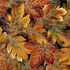 Robert Kaufman autumn fabric with golden leaves