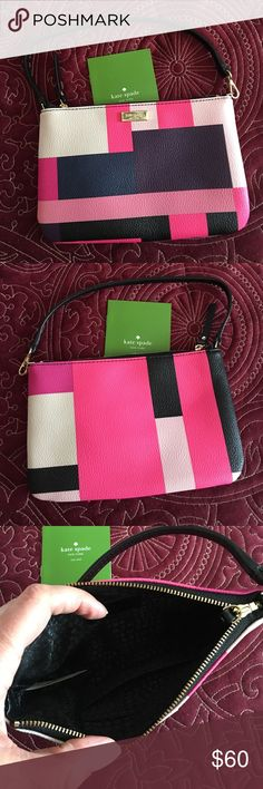"""NWOT KATE SPADE Wristlet - Grant Street Lolly Never used KS Grant Street Grainy Vinyl Lolly Wristlet in pretty color block pattern. Bought from KS earlier in 2016. 9 x 5"""". Inside has spots for two cards. Perfect and ready to be used! 😎 kate spade Bags Clutches & Wristlets"""