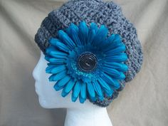 Grey Ladies Crochet Hat with detachable Blue by AngieHallHaviland, $23.00