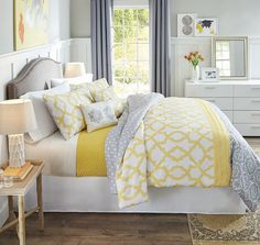 A reversible comforter and coordinating pillows offer multiple options for a bedroom refresh—pair neutral gray with sunny yellow for an on-trend combination. Yellow And Gray Comforter, Yellow Gray Bedroom, Yellow Bedspread, Grey Comforter Sets, Grey Room, Bedroom Colors, Yellow Bedrooms, Bedding Sets, Bedroom Comforters