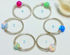 Opal cartilage earring, helix, tragus ring,small opal nose ring,silver nose hoop #BodyJewelry