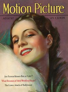 Motion Picture, Norma Shearer (August 1928) by Marland Stone