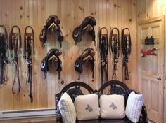 Thats a brilliant idea too.. make the hooks wide enough to hang the girths too.