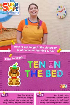 """Caitie demonstrates the gestures and shares some activity ideas for the song """"Ten In The Bed"""". Perfect for ESL, EFL, preschool, and kindergarten classes! Preschool Songs, Kids Songs, Toddler Preschool, Counting Songs, Counting Activities, Ten In The Bed, How To Teach Kids, English Language Learners, Kindergarten Class"""