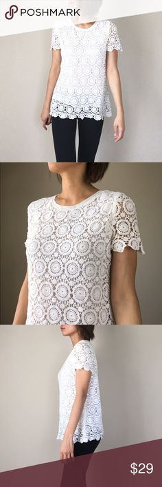 """Crochet fully line top blouse Fully crochet fully line top blouse . Chiffon neck trim. Size M. Shell 100%cotton ; lining; 100%poly.. Shoulder 14"""" length 25"""" bust 17"""" hip 20"""". All flat flat measurement in inches. Off white. Ivory. Tops Blouses"""