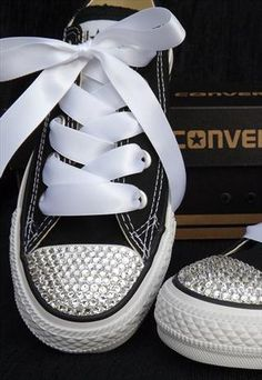 Customised Classic Black Converse with Swarovski Crystals from Added-Sparkles