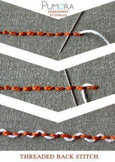 Pumora s stich lexicon threaded back stitch umschlungener rueckstich rückstich de point de piqûre rebrodé orné entrelacé fr punto pespunte entrelazados es Embroidery Designs, Embroidery Stitches Tutorial, Hand Embroidery Patterns, Embroidery Techniques, Sewing Techniques, Machine Embroidery, Sewing Patterns, Stitch Patterns, Sewing Stitches