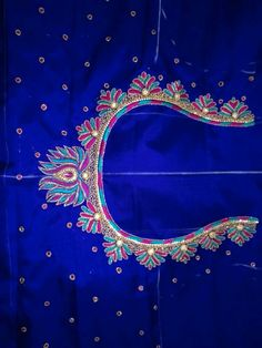 praba -Maggam Work Blouse Designs New Simple What You Need In Motorcycle Sunglasses Article Body: An Cutwork Blouse Designs, Kids Blouse Designs, Simple Blouse Designs, Embroidery Neck Designs, Hand Work Embroidery, Mirror Work Blouse Design, Hand Work Design, Maggam Work Designs, Aari Work Blouse