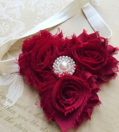 Red and White Shabby Chic Flower Headband baby by chicnclassy