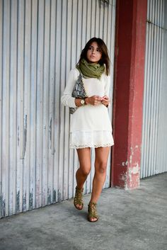 green scarf, white sweater, white lace skirt, snakeskin clutch, green flat sandals