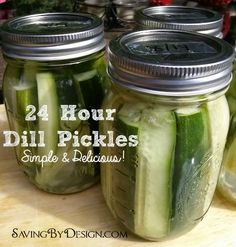 There's nothing better than a cold, crisp, fresh pickle to go with those burgers and dogs.  Take a look at these Easy 24 Hour Dill Pickles and whip up a batch to enjoy tomorrow! | SavingByDesign.com