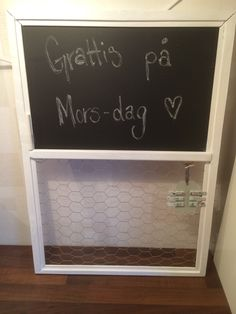 Mothersday gift. old window with chalkboard and chicken wire note board