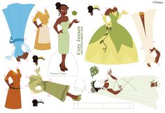 Princess Tiana Paper Doll by Cor104. Fun princess birthday party activity. Maybe precut, but blank so they could color them.