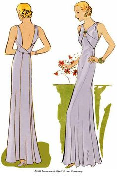 Buy a vintage dress pattern and make your dress (1933 Evening Gown)