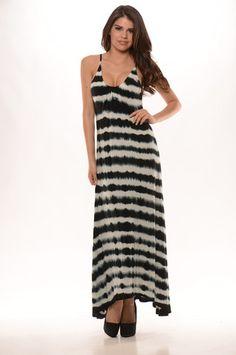 Tie Die Stripe Open Back Maxi Dress (Black) - $32.99 #FashionNova #Dress #Stripe