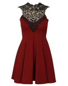 Applique Neckline Open Back Skater Dress in Burgundy £ 24.95 #chiarafashion