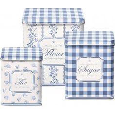 GreenGate Tin Boxes Square Audrey Indigo - Set of 3