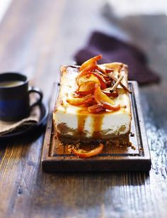 Toffee Apple Cheesecake ~ on a gingersnap crust | recipe by Jo Wheatley of #GBBO via Sainsbury's Magazine