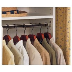 Wooden hangers all consistent in the closets really do improve the appearance of the space