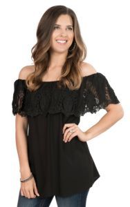 Pink Cattlelac Women's Black with Crochet Ruffled Top Short Sleeve Fashion Top   Cavender's