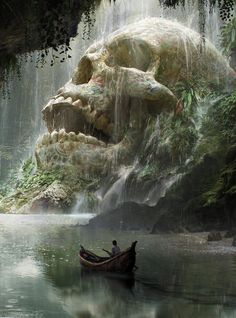 art conceitual Fantasy Art Watch Skull Cave by Quentin Mabille Dark Fantasy Art, Fantasy Concept Art, Fantasy Artwork, Dark Art, Fantasy Paintings, Anime Fantasy, Fantasy Places, Fantasy World, Art Watch