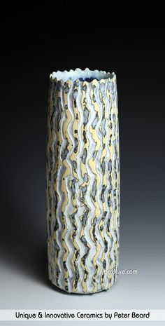 Peter Beard Ceramics - Yellow, Black and White Vessel