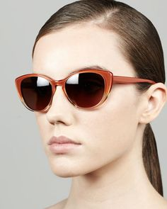 Haley Cat-Eye Sunglasses, Rust Gradient by Oliver Peoples at Bergdorf Goodman.