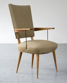 JOAQUIM TENREIRO Arm chair, ca. 1947  Caviona wood with upholstered seat and back 33 × 20 × 16 1/2 in 83.8 × 50.8 × 41.9 cm