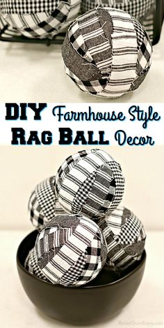 This craft is super easy and such a great way to use some of those fabric scraps. I will show you step by step how to make farmhouse style rag ball decor. Diy Craft Projects, Diy Crafts For Kids, Easy Crafts, Easy Diy, Craft Ideas, Dollar Store Crafts, Dollar Stores, Rustic Crafts, Works With Alexa