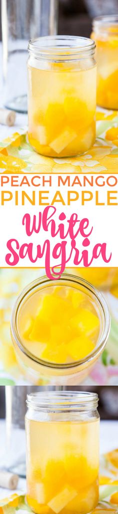 Peach Mango Pineapple White Sangria - Takes minutes to make and everyone loves it! A lighter and fresher alternative to red sangria! Make it for your next party! Party Drinks, Cocktail Drinks, Fun Drinks, Alcoholic Drinks, Sangria Drink, Pool Drinks, Sangria Recipes, Drinks Alcohol Recipes, Cocktail Recipes