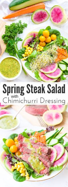 This spring steak salad with homemade carrot and cilantro chimichurri vinaigrette dressing uses crisp spring vegetables and tops them with tender juicy @PREBrands_ steak slices and a drizzle of fresh herb chimichurri sauce.