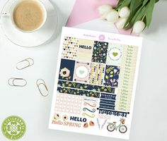 Free Printable Hello Spring Planner Stickers from LuckiCharms