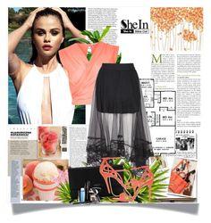 """Shein Black Elastic Skirt"" by adelisa-ade ❤ liked on Polyvore featuring River Island, Lanvin, Karen Millen, Garance Doré, LSA International and Lancôme"