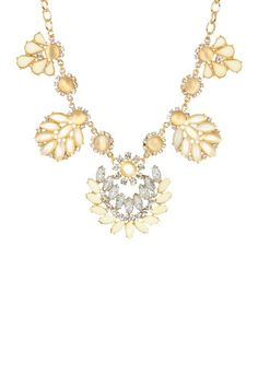 t+j Designs Beige Leaf Statement Necklace by Non Specific on @HauteLook