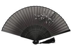 DawningView Japanese Handheld Fan, Plum Blossom (Black)