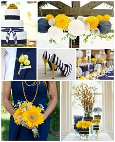 Blue and White Wedding Ideas - Love the Yellow with it | Navy & Yellow Wedding