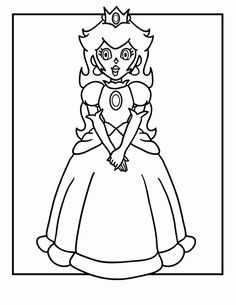 Princess Peach Coloring Pages To Print Art Pinterest