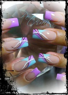 Reverse colors on middle and ring. Like swope on left finger down. Elongate French tip on one side to mimic pattern on ring and middle finger Fabulous Nails, Gorgeous Nails, Pretty Nails, Beautiful Nail Designs, Beautiful Nail Art, Hot Nails, Hair And Nails, Nail Polish Designs, Nail Art Designs