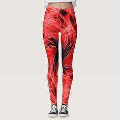 Red kaleidoscope light trails pattern leggings