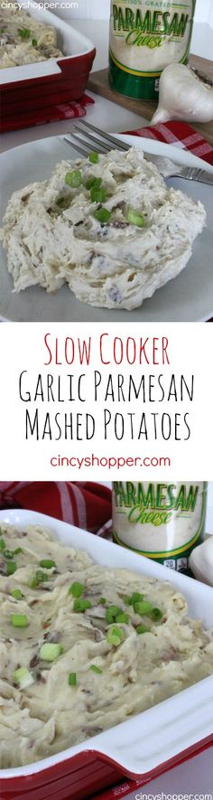 Slow Cooker Garlic Parmesan Mashed Potatoes Recipe. Perfect for when needing to make ahead for weeknight and holiday meals.