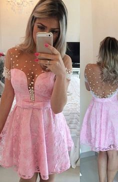 Short Prom Dresses, Lace Prom Dresses, Pink Prom Dresses, Prom Dresses Short, Discount Prom Dresses, Short Homecoming Dresses, Prom Short Dresses, Homecoming Dresses Short, Prom Dresses Lace, Pink Lace dresses, Side Zipper Homecoming Dresses, Lace Homecoming Dresses, Mini Homecoming Dresses, Round Prom Dresses